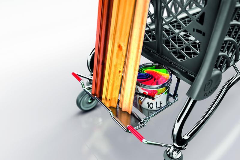Base porte merchandise rétractable avec plaque en métal